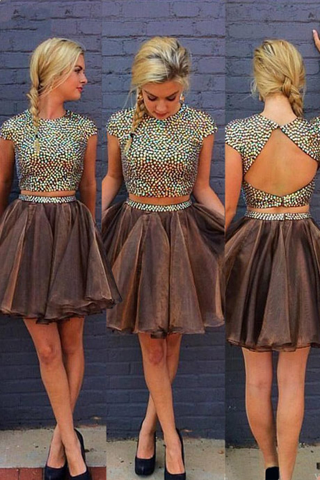 Two Piece Cap Sleeves Short Chocolate Homecoming Dress with Beading Open Back