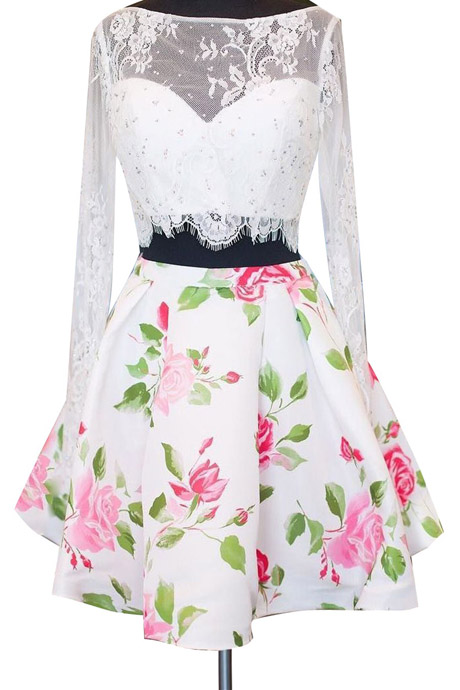 Sexy Two-piece Bateau Long Sleeves Above-knee Floral Print Satin White Lace Homecoming Dress With Beading