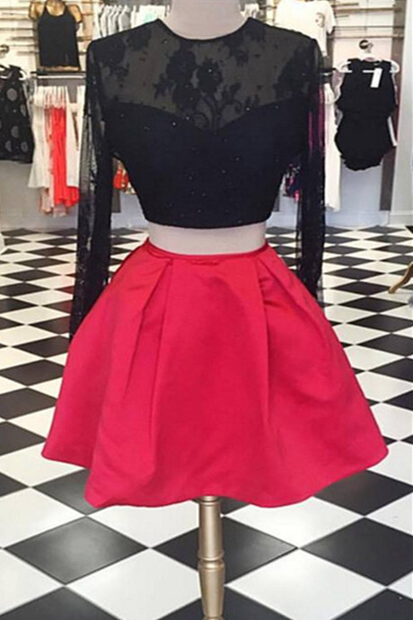 Two Piece Backless Long Sleeves Short Red Homecoming Dress with Black Lace Beaded