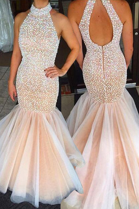 Gorgeous Prom Dress -Pearl Pink Mermaid Halter Sweep Train witn Rhinestone