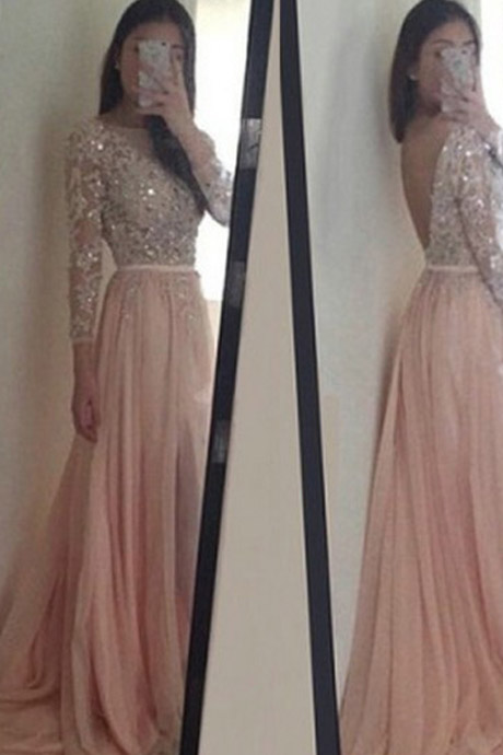 Elegant O-Neck Long Sleeves Pink Prom/Evening Dress With Appliques