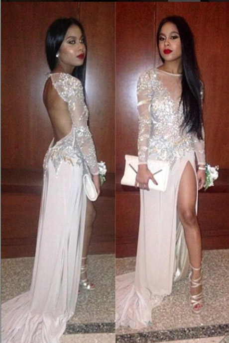 Sexy Illusion Neck Open Back White Long Prom Dress With High Split