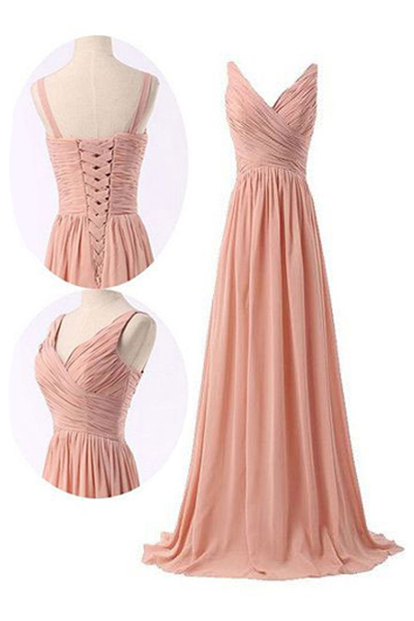 Simple V-neck A-line Peach Long Chiffon Bridesmaid Dress with Ruffles
