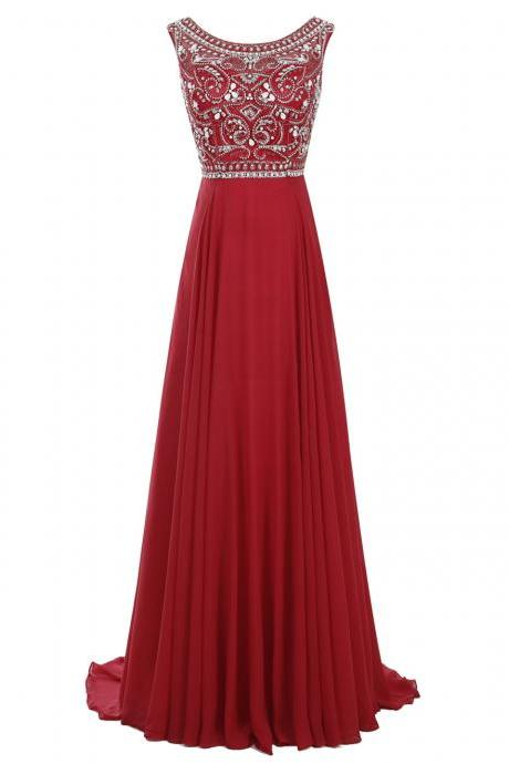 Simple Bateau A-line Red Long Chiffon Prom Dress with Beaded
