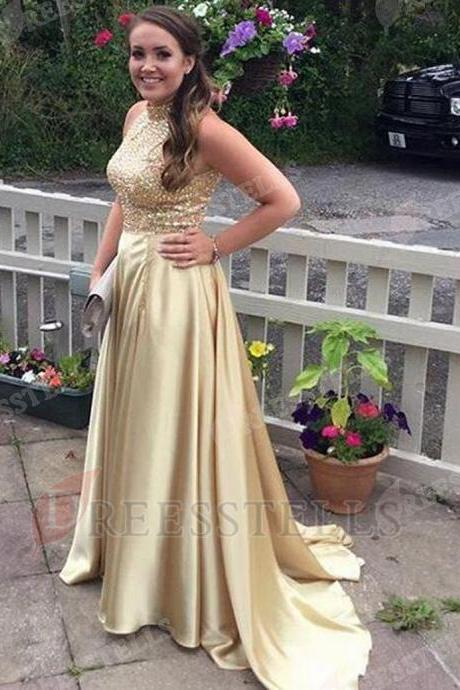Sexy High Neck Sleeveless Gold Prom Dress with Sequins