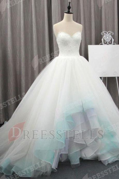 Ball Gown Sweetheart Sleeveless High Low Tiered Wedding Dress with Beading Lace