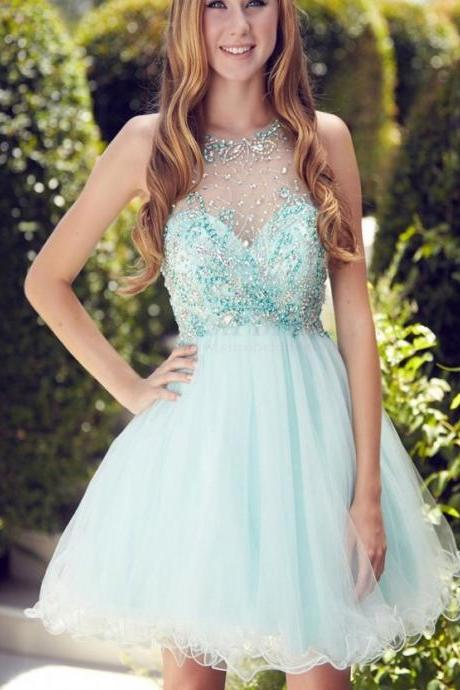 Glamorous A-line Scoop Short/Mini Mint Organza Homecoming Dress With Beaded