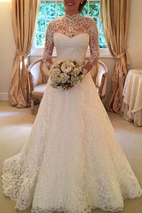 A-line Lace Open Back Long Sleeves Bowknot Wedding Dress with Long Trains