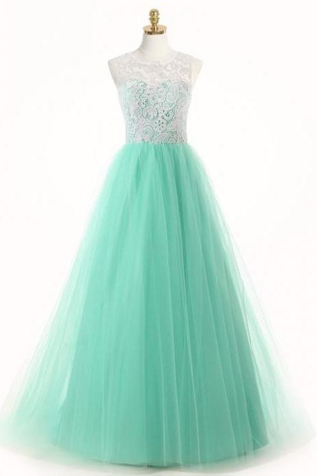 Free Shipping Casual A-Line Scoop Floor Length Mint Bridesmaid Dress with Appliques
