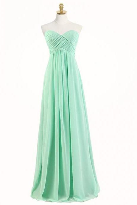 Free Shipping Beautiful A-Line Sweetheart Floor Length Mint Bridesmaid Dress with Ruched