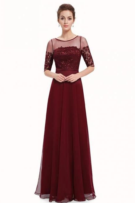 Free Shipping Burgundy Bateau Half Sleeves Long Prom Bridesmaid Dress with Sash Lace