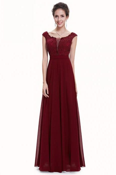 Free Shipping A-line Bateau Cap Sleeves Long Bridesmaid Dress with Sash Lace