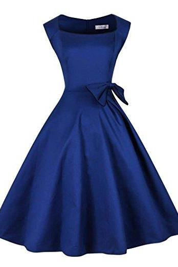 Vintage Royal Blue Bateau Solid 50s Vintage Dress with Bowknot