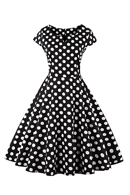 Retro Style Polka Dot Pattern Dress - Black