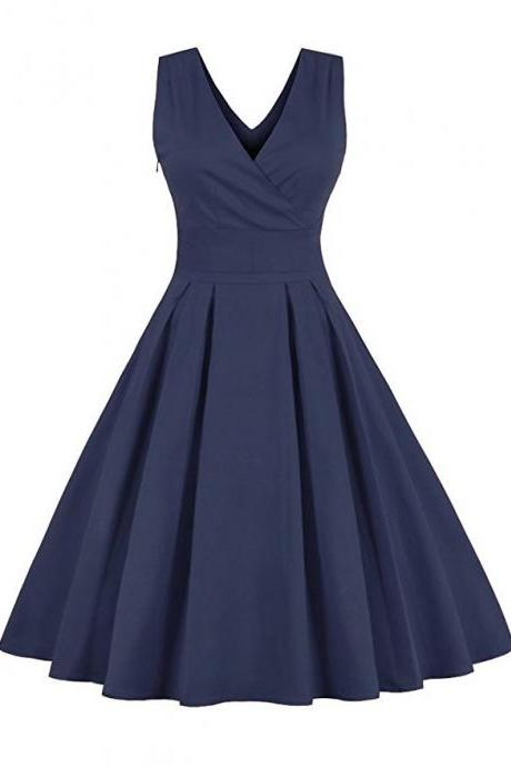 Retro Back Bowtie Sleeveless Midi Dress - Blue