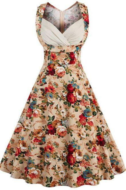 Retro Style High-Waisted Floral Print Women's Dress - Khaki