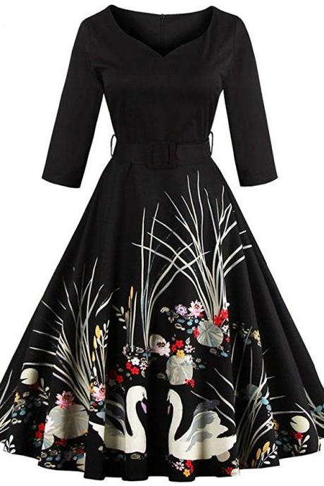 Vintage Printed Belted High Waist Dress - Black