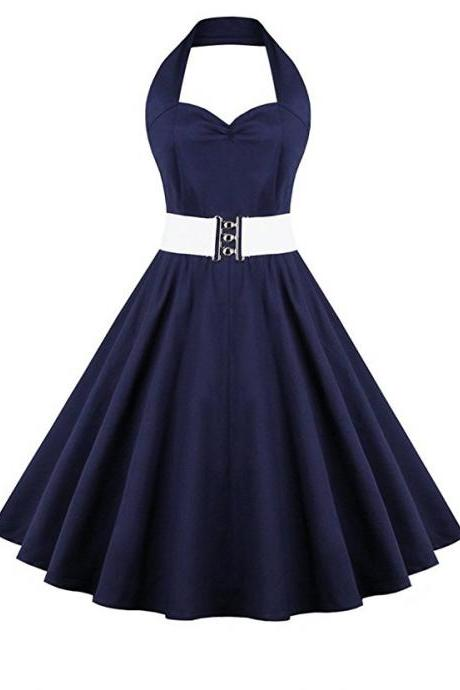 Retro Halter Sweetheart Neck Ball Dress - Purplish Blue