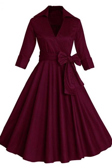 Fit and Flare Wrapped Midi Dress - Wine Red