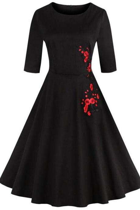Retro Style High Waist Floral Embroidery Dress - Black