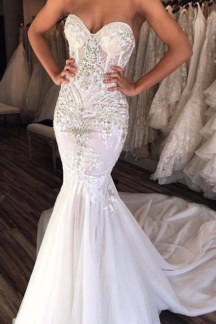 Sexy Sheath Sweetheart Mermaid Sleeveless Wedding Dress