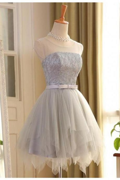 A-line Scoop Short Gray Tulle Sleeveless Prom Dress with Lace