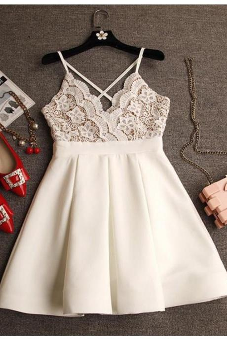 A-line V-neck Criss-Cross Straps Short Ivory Prom Dress with Lace
