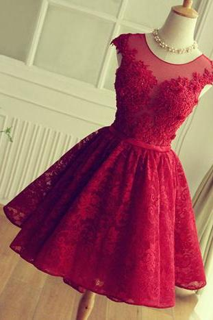 Red Lace homecoming dresses, Open back homecoming dress, lace prom dress, 2017 homecoming dress, Short homecoming dress
