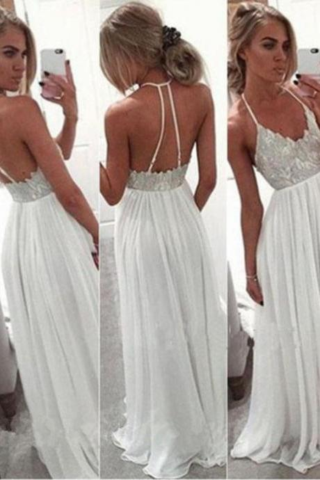 White Chiffon Sequin Long Prom Dress Backless Long Prom Dresses