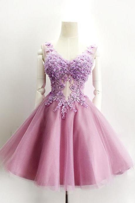 Cute Homecoming Dress,Short Prom Dress,Appliques Prom Homecoming Dress